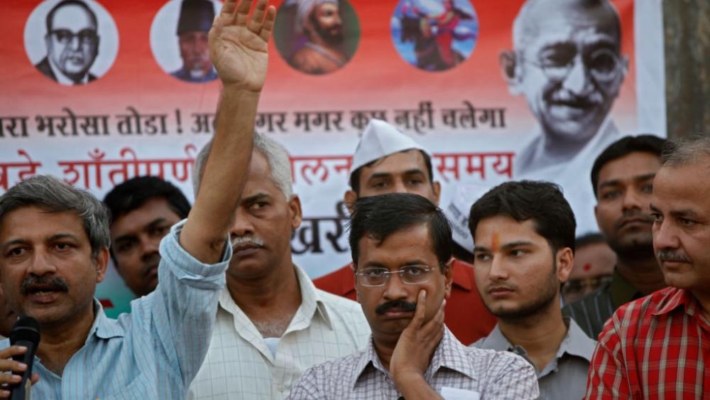 During better times Mayank Gandhi with Arvind Kejriwal