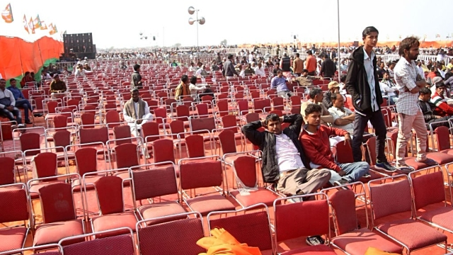 The empty chairs at BJP's Yuva Hunkar rally attended by its national president Amit Shah on February 15, 2018 at Jind, Haryana