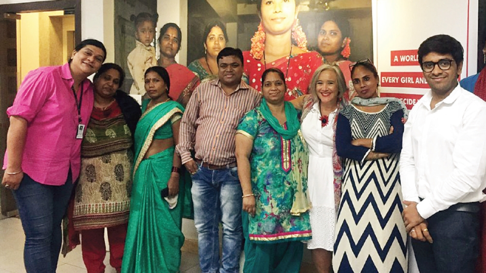 A file picture of Robin Gorna (fourth from right), co-lead of She Decides, with activists who work amongst sex workers in India last year