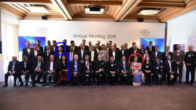 Prime Minister Narendra pictured along with CEOs in Davos, Switzerland on January 23, 2018; ICICI Bank MD and CEO Chanda Kochchar is highlighted in red; Nirav Modi, an accused in the PNB fraud case can also be seen (highlighted in blue)