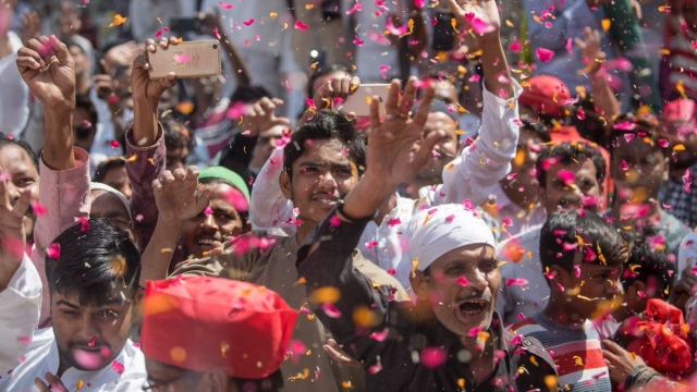 File photo of Samajwadi Party workers during the poll campaign in Phulpur