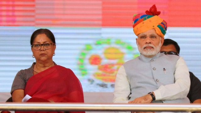 Prime Minister Narendra Mod and Rajasthan Chief Minister Vasundhara Raje during the launch of National Nutrition Mission on March 8, International Women's Day in Jhunjhunu, Rajasthan