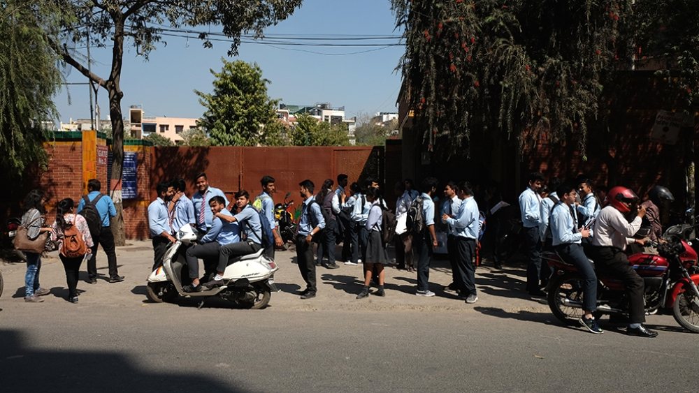 File photo of students after finishing their 1st CBSE Board exam in Delhi in early March. Representative image