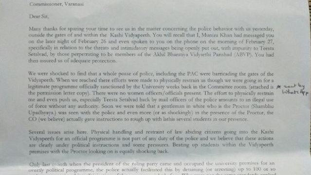 The letter submitted to the Varanasi police commissioner