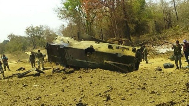 The CRPF vehicle blown up by the Naxalites