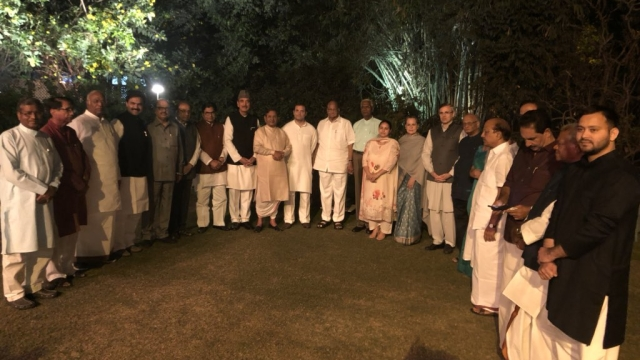 Leaders from 20 Opposition parties at UPA Chairperson Sonia Gandhi's dinner at her residence, 10 Janpath in Delhi on Tuesday, March 13