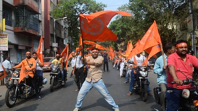 A rally on the eve of Ram Navami on Sunday, March 25, in Kolkata