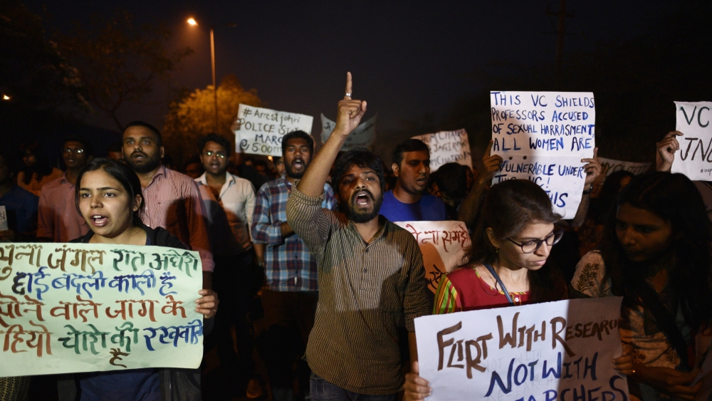 JNU students during a protest march from JNU to the Vasant Kunj Police Station in Delhi on March 19