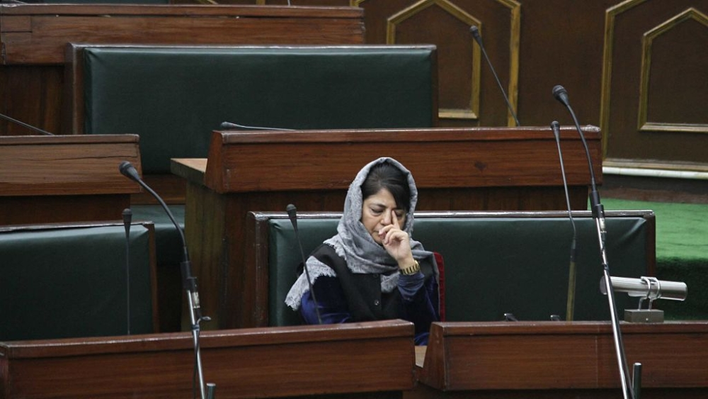 Former Jammu & Kashmir Chief Minister Mehbooba Mufti in the state assembly at Jammu (file photo)