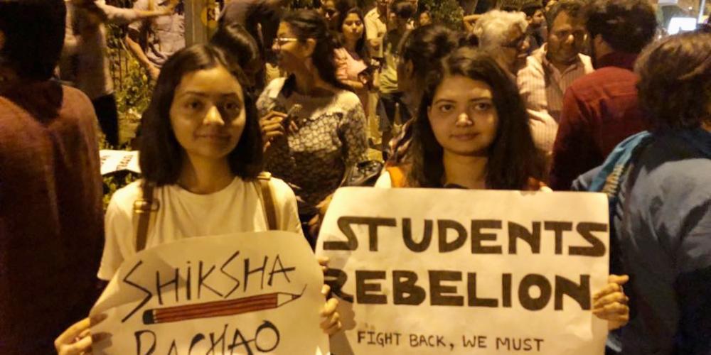 JNU students protesting on Friday night