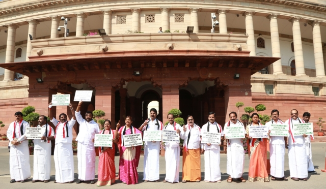 AIADMK MPs protest on Cauvery water dispute at Parliament House.