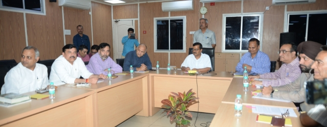 Delhi Chief Minister Arvind Kejriwal, Deputy Chief Minister Manish Sisodia, Minister Satyendra Kumar Jain, AAP MP Sanjay Singh, Delhi Congress chief Ajay Maken and Congress leader Arvinder Singh Lovely during an all party meeting called to discuss ongoing sealing drive in New Delhi.