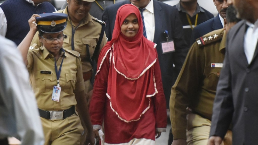 File photo of 24-year-old Hadiya alias Akhila (in red dress)