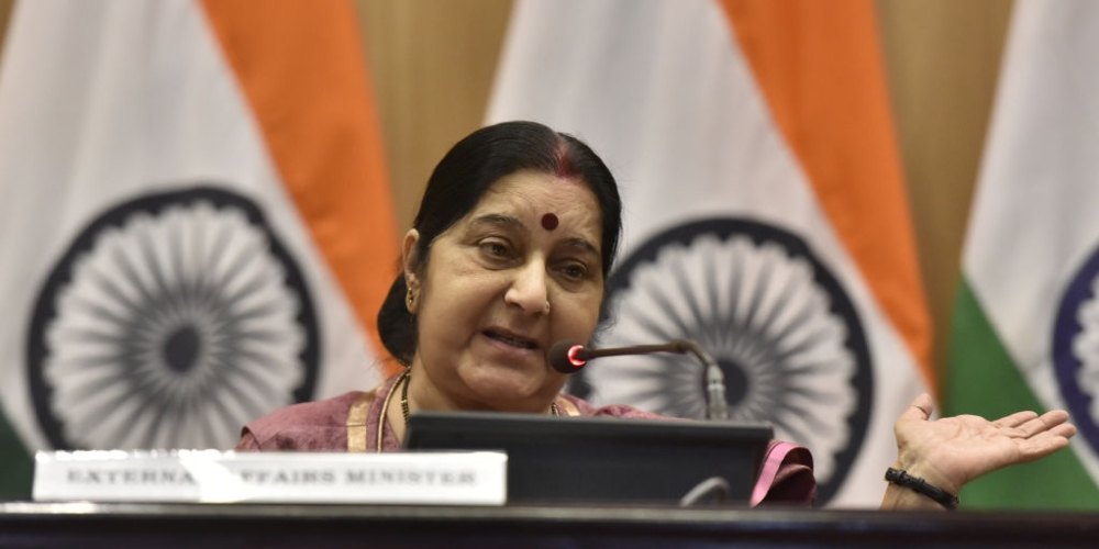 External Affairs Minister Sushma Swaraj at a press conference in New Delhi on March 20 on the issue of 39 Indians stranded in Mosul, Iraq found killed by ISIS
