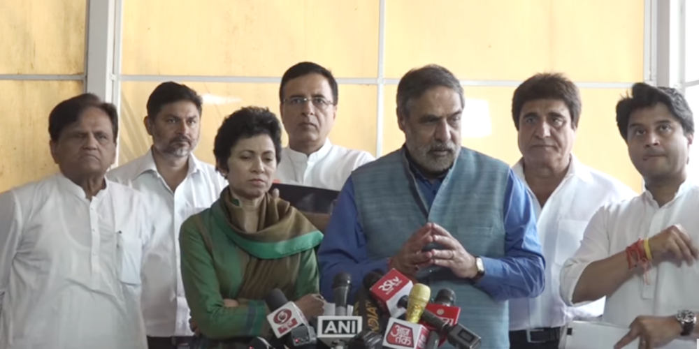 Congress leaders addressing media on SC ruling on the SC-ST (Prevention of Atrocities) Act on Tuesday