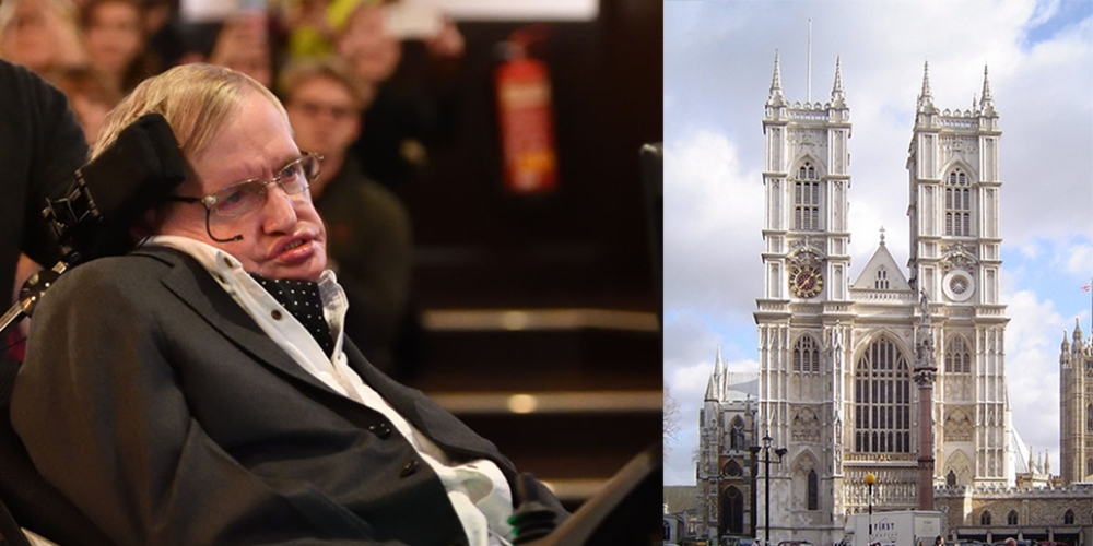 File photo of Professor Steven Hawking at Cambridge; Westminster Abbey in London