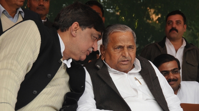 File photo of Rajya Sabha MP Naresh Agarwal with then Samajwadi Party chief Mulayam Singh Yadav on December 30, 2011 in Lucknow, the day Naresh Aggarwal and his son Nitin Agarwal ditched BSP to join SP, before the UP assembly elections of February, 2012