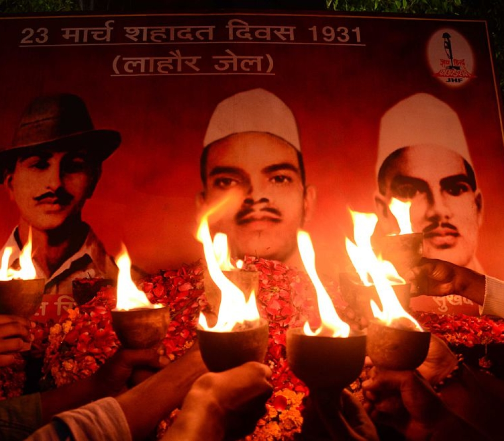 File photo of tributes being paid to freedom fighters Bhagat Singh, Sukhdev and Rajguru on the occasion of their death anniversary, in Allahabad on March 23, 2015