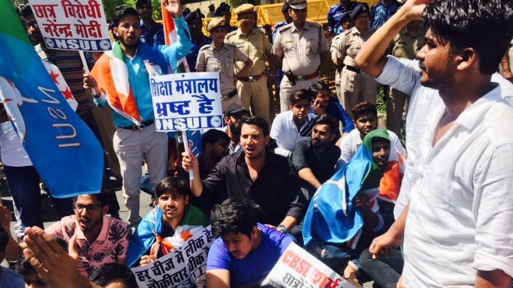 National Student's Union of India protests against leak of some CBSE exam papers outside Union HRD Minister Prakash Javadekar's residence on Friday, March 30 in Delhi