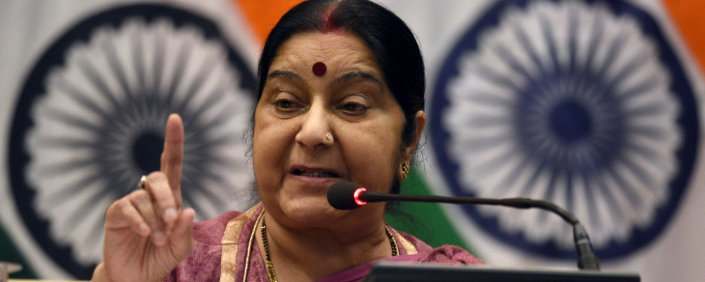 Minister of External Affairs of India Sushma Swaraj addresses the media on the issue of 39 Indians stranded in Mosul (Iraq) killed by ISIS, at Delhi on March 20