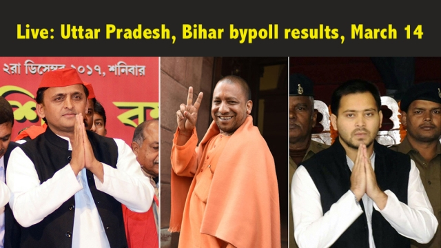 Samajwadi Party chief Akhilesh Yadav (left), UP's BJP chief minister Yogi Adityanath (centre) and Bihar LoP Tejashwi Yadav of RJD