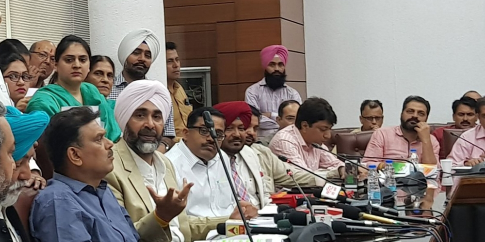Punjab's finance minister Manpreet Badal at a press conference after presenting the budget on Saturday