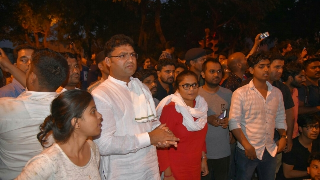 Congress Lok Sabha MP Sushmita Dev and Haryana Pradesh Congress Committee president Ashok Tanwar with the students