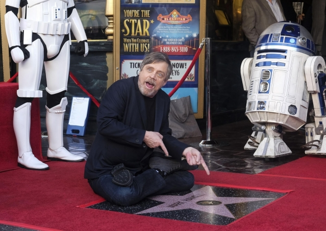 Actor Mark Hamill attends a star honoring ceremony on the Hollywood Walk of Fame in Los Angeles, the United States, Mark Hamill was honored with a star on the Hollywood Walk of Fame.