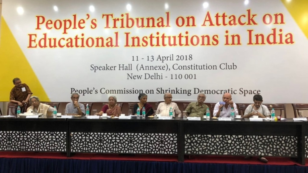 The jury addresses the media after the conclusion of three-day 'people's tribunal on attack on education institutions in India' at the Constitution Club in New Delhi