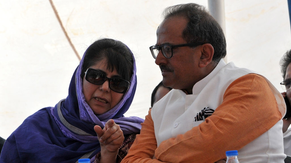 File photo of Jammu and Kashmir Chief Minister Mehbooba Mufti and Deputy Chief Minister Nirmal Singh