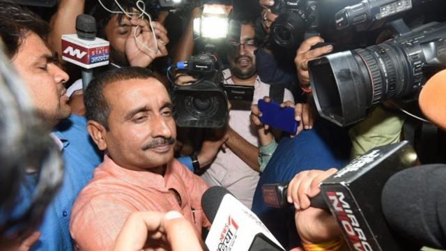 The BJP MLA Kuldeep Kumar Sengar speaking to the media