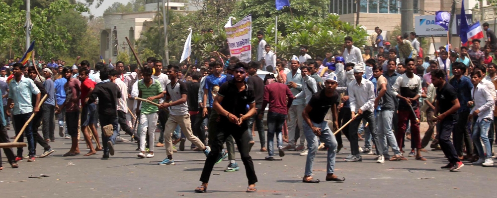 People protest during 'Bharat Bandh' call given by Dalit organisations against the alleged dilution of Scheduled Castes / Scheduled Tribes act on April 2