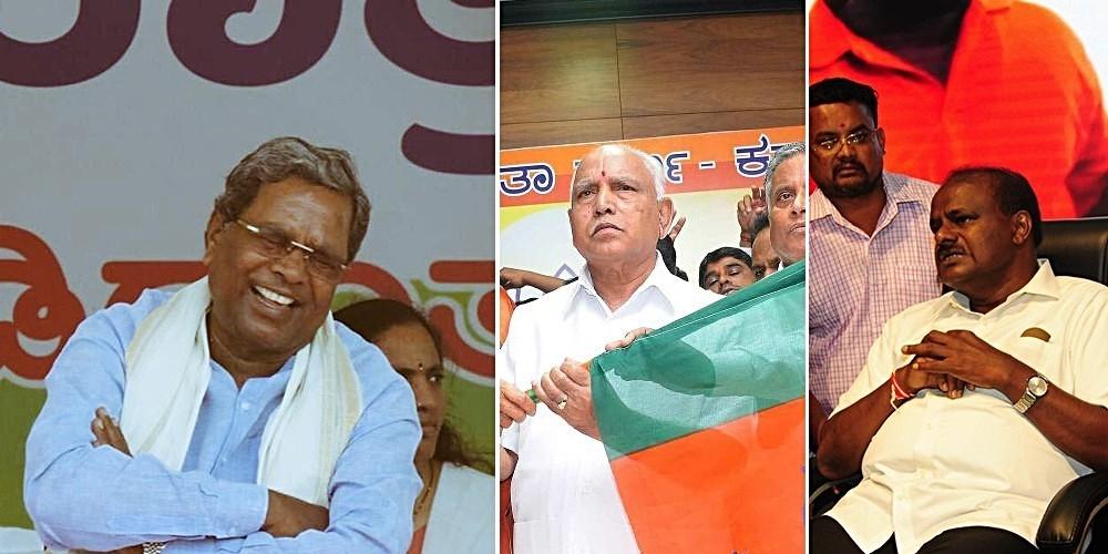L-R: Three CM faces for Karnataka assembly election: Siddaramaiah of Congress, BS Yeddyurappa of BJP and HD Kumaraswamy of JD(S)