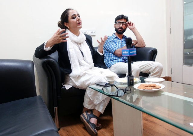 Advocate Deepika & human rights activist Talib Hussainj after filing petition for the transfer of Kathua rape case out of J&K