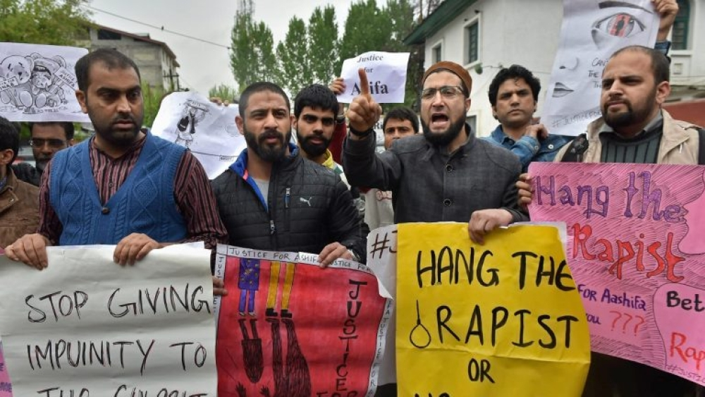 A file photo of demonstrators demanding justice for eight-year-old nomad girl Asifa, who was abducted and gang-raped for over a week before she was stoned to death by her captors in January
