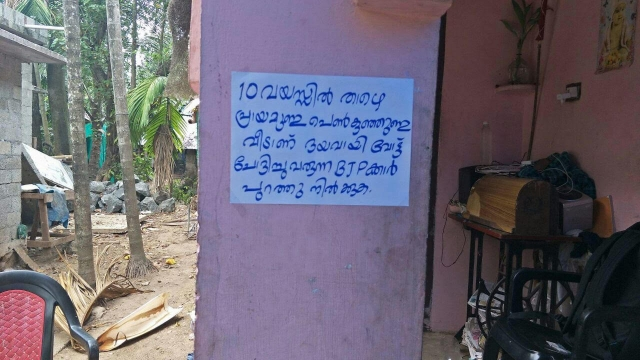 A poster stating - There are girls younger than 10 living in this house. BJP vote seekers please remain outside - at display outside a home in Chengannur in Kerala