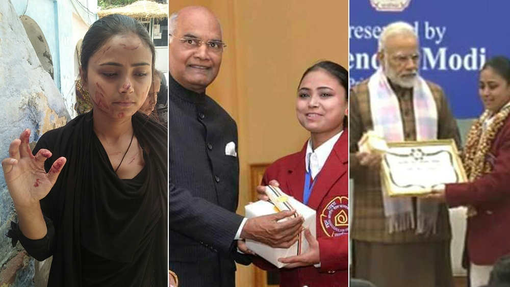 National Bravery Award winner Nazia Khan, who has been felicitated by both President Kovind (centre) and Prime Minister Narendra Modi, has been attacked by land mafia goons in Agra (left)