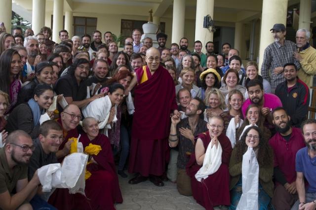 Tibetan spiritual leader  Dalai Lama with his disciples at Tsugla Khang Temple in Dharamshala.
