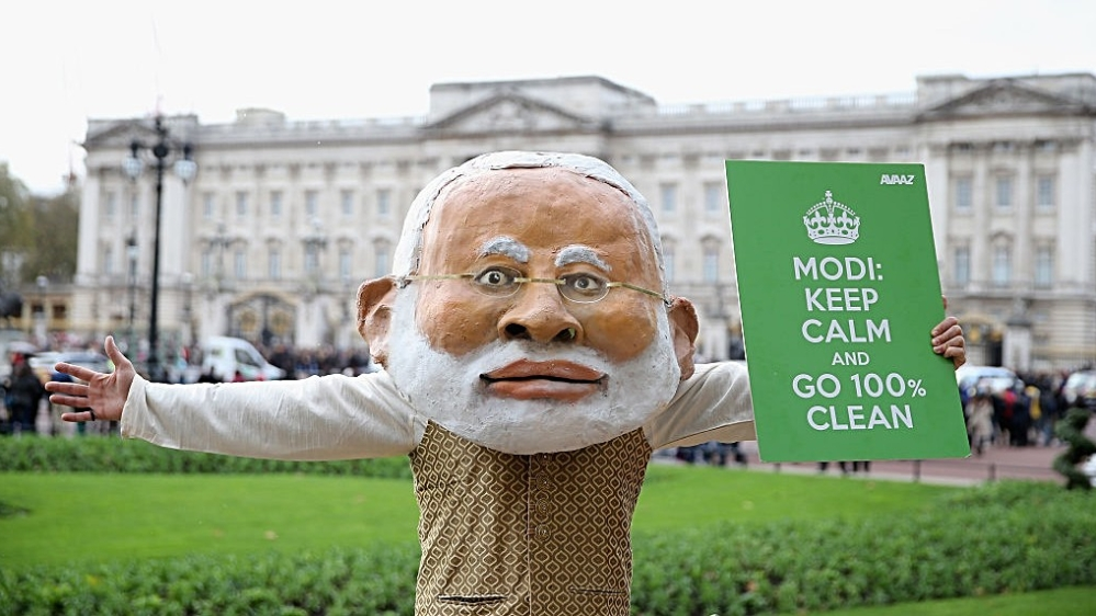 File photo of a protest in London during Prime Minister Narendra Modi's previous visit to the UK