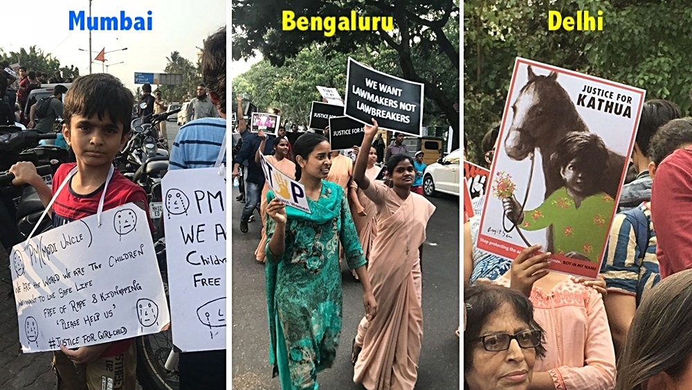 Citizens protest at Carter Road, Mumbai (left), Richard's Park, Bengaluru (centre) and Parliament Street, New Delhi on Sunday, April 15 evening to demand justice for the victims of gangrape in Kathua, J&K and Unnao, Uttar Pradesh