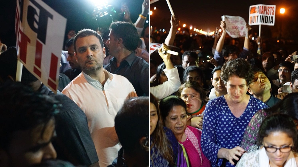 Congress President Rahul Gandhi and his sister Priyanka Gandhi, at a midnight candlelight vigil at India Gate in Delhi to protest incidents of rape in Unnao, Uttar Pradesh and Kathua, Jammu and Kashmir