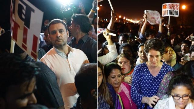 Image result for congress-protest-against-kashmir-up-rape-case-march