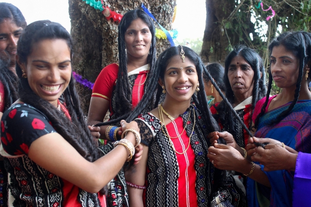 Toda tribal women during a marriage ceremony at Tarnadu Mund near Ooty.