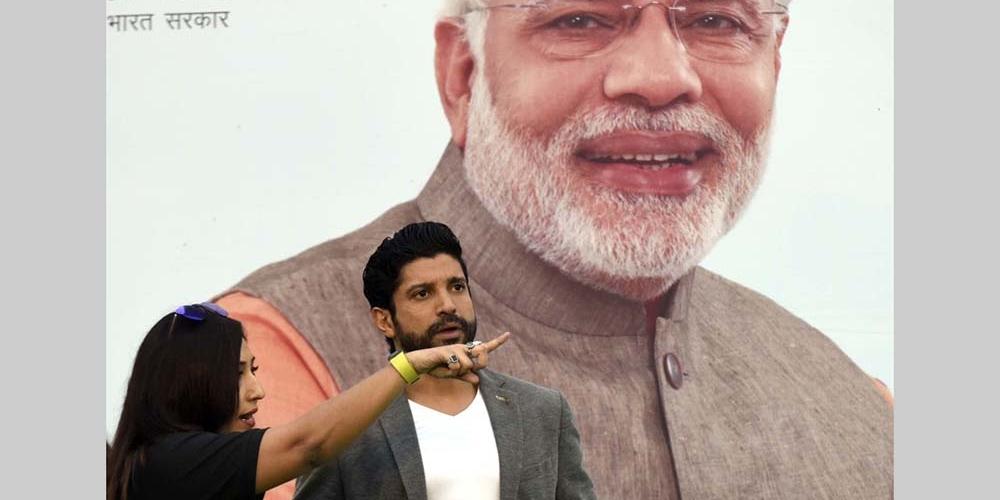File photo of Bollywood actor Farhan Akhtar at a cyclothon in Delhi