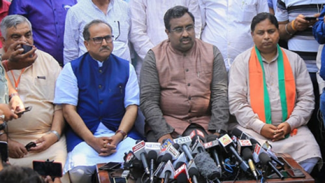 Ram Madhav, BJP general secretary, along with Jammu and Kashmir Deputy Chief Minister Nirmal Kumar Singh and others party leaders addresses a press conference over Kathua rape case, Jammu on Saturday