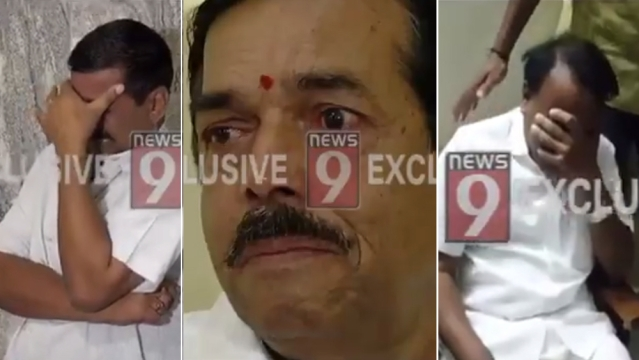 Grabs from videos of Congress Byadgi MLA Basavaraj Shivanna (left), Congress Hangal MLA Manohar Tahsildar (centre) and former BJP MLC Shashil Namoshi weeping after being denied tickets for the forthcoming assembly elections