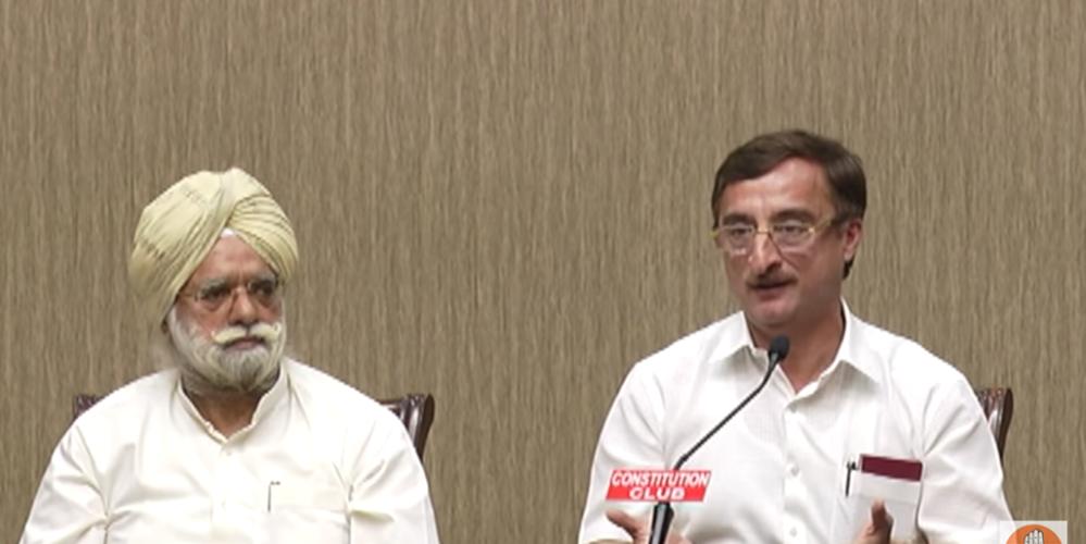 Congress Rajya Sabha MPs KTS Tulsi and Vivek Tankha address a press conference in Delhi on April 22