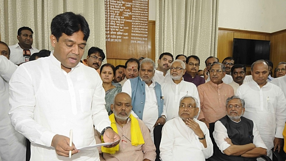 Khalid Anwar files nomination papers as JD(U) candidate for Bihar Legislative Council elections in Patna, in presence of JD(U) chief and Bihar Chief Minister Nitish Kumar and Deputy CM Sushil Modi of BJP, on April 16