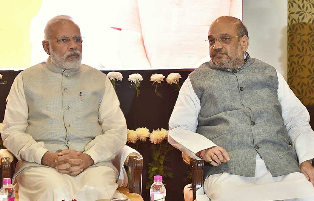 File photo of Prime Minister Narendra Modi and BJP President Amit Shah during a meeting with BJP Rajya Sabha MPs