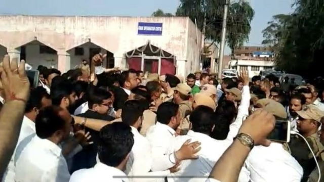 Agitated lawyers led by Kathua Bar Association clash with police on the court premises to prevent a J&K Police Crime Branch team from producing a chargesheet before the Chief Judicial Magistrate on Monday